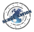 Surge Nation Logo: Designed to look like a passport stamp with a globe in the center